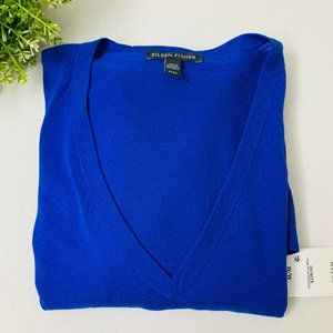 Eileen Fisher V Neck Tunic Sweater Royal Blue